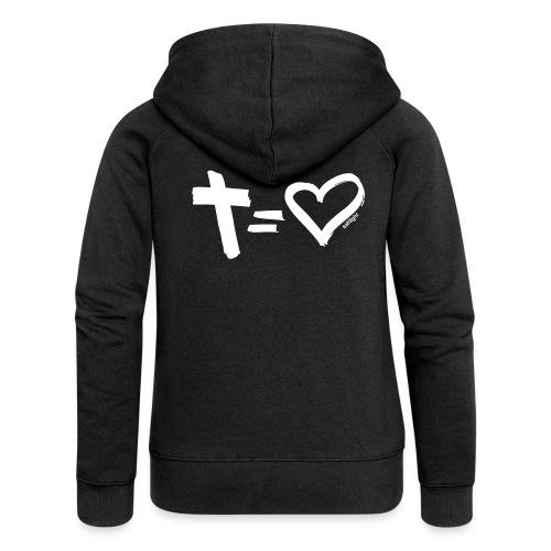 Cross = Heart WHITE // Cross = Love WHITE - Women's Premium Hooded Jacket