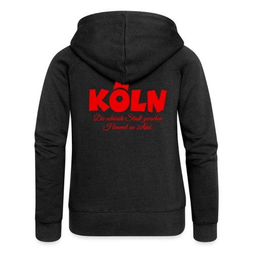 Köln schönste Stadt zwischen Himmel un Ääd (Rot) - Frauen Premium Kapuzenjacke