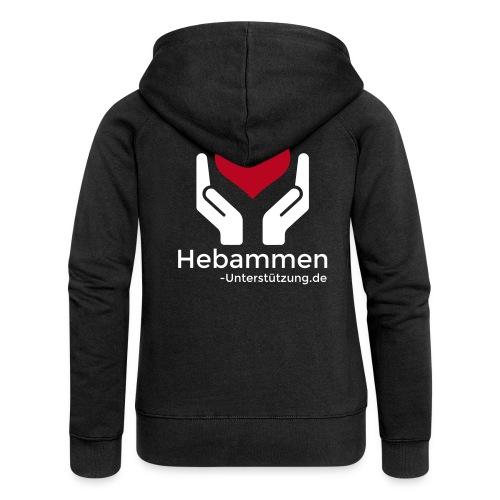 Logo Hebammen Unterstützung de weiß groß - Frauen Premium Kapuzenjacke
