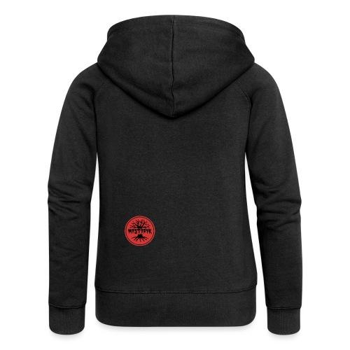 sort logo på rød baggrund med rød ring - Dame Premium hættejakke
