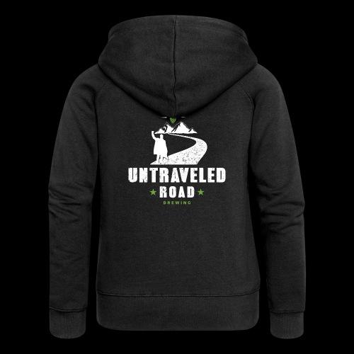 Untraveled Road Logo - weiß - Frauen Premium Kapuzenjacke