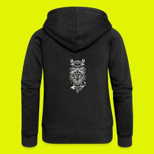 maglietta gufo - Felpa con zip premium da donna