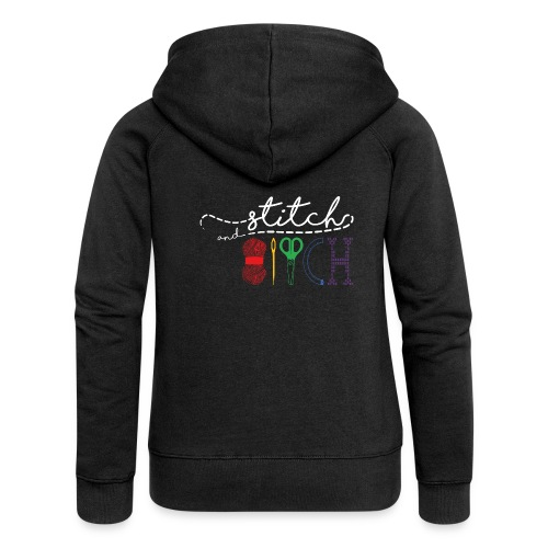 StitchAndBitchBackLogo_Wh - Women's Premium Hooded Jacket