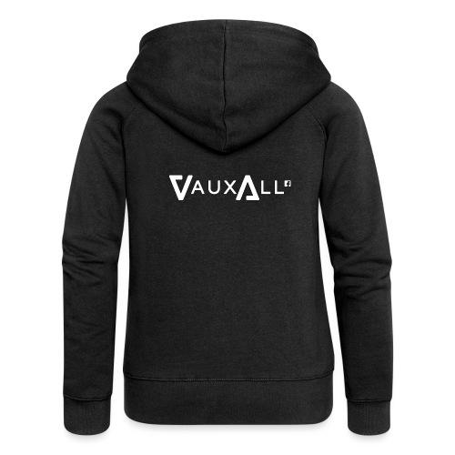 VauxAll Logo   White   Original - Women's Premium Hooded Jacket