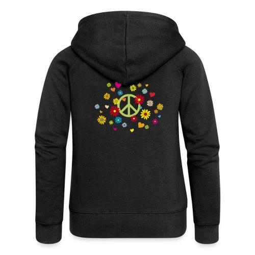 Peacezeichen Blumen Herz flower power Valentinstag - Women's Premium Hooded Jacket