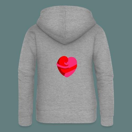 hearts hug - Felpa con zip premium da donna
