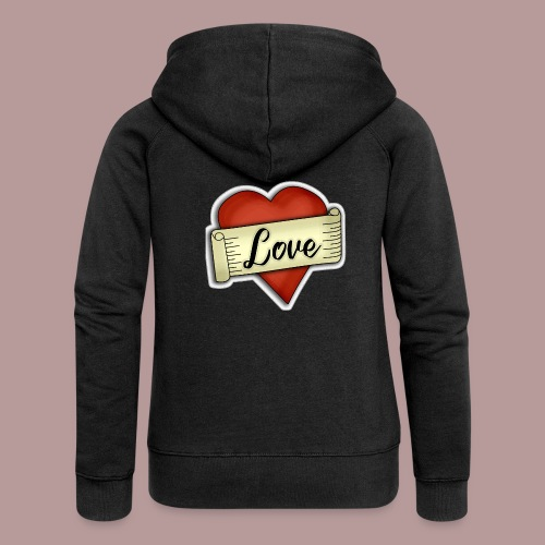 Love cœur tatouage - Veste à capuche Premium Femme