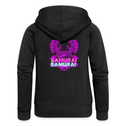 Cuberpunk samurai asian bushido shogun fighter - Rozpinana bluza damska z kapturem Premium
