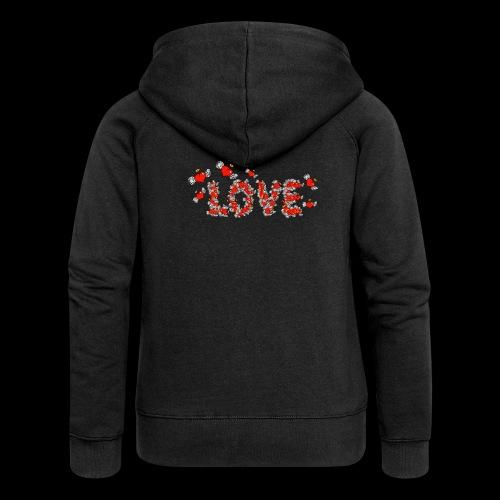 Latające miłości serc - Rozpinana bluza damska z kapturem Premium