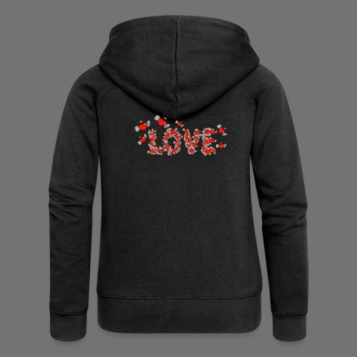 Fliegende Herzen LOVE - Frauen Premium Kapuzenjacke