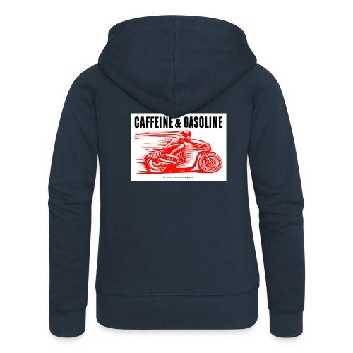 Caffeine & Gasoline black text - Women's Premium Hooded Jacket