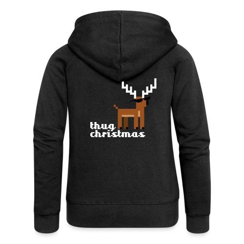 Christmas Xmas Deer Pixel Funny - Women's Premium Hooded Jacket