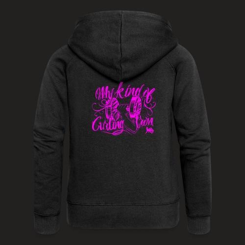 CURLING PURPLE.png - Women's Premium Hooded Jacket