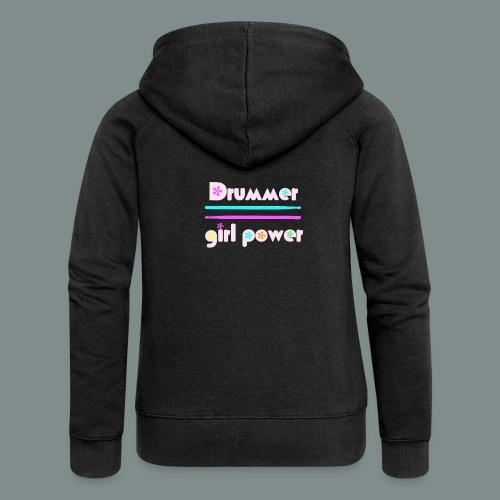 Drummer girlpower rose - idee cadeau batteur - Veste à capuche Premium Femme