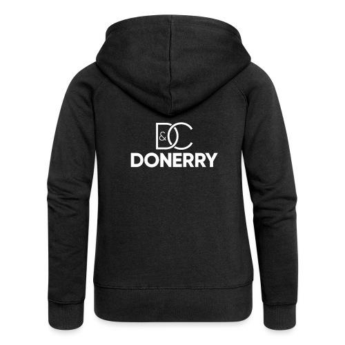 DONERRY New White Logo on Dark - Women's Premium Hooded Jacket