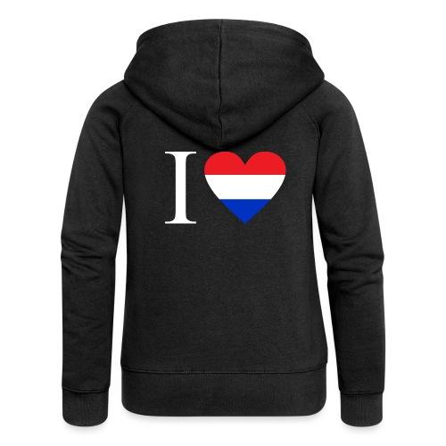 Ik hou van Nederland   Hart met rood wit blauw - Vrouwenjack met capuchon Premium