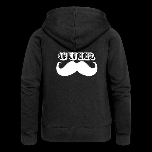 Cuir Moustache - Logo Blanc - Women's Premium Hooded Jacket