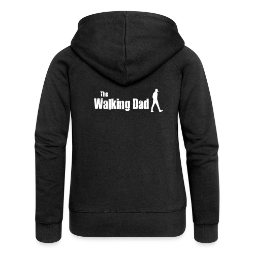 the walking dad white text on black - Women's Premium Hooded Jacket