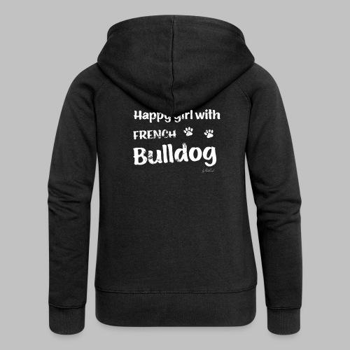 Happy girl with french bulldog - Frauen Premium Kapuzenjacke