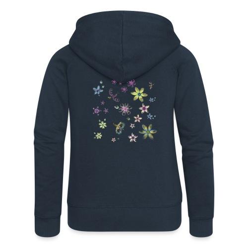 flowers and butterflies - Felpa con zip premium da donna