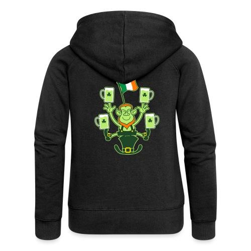 Leprechaun Juggling Beers and Irish Flag - Women's Premium Hooded Jacket