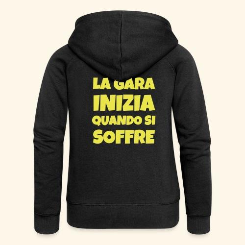 Frase Ironica - La Gara Inizia - FLAT - Felpa con zip premium da donna