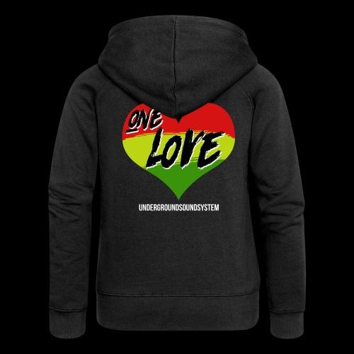 ONE LOVE - HEART - Frauen Premium Kapuzenjacke