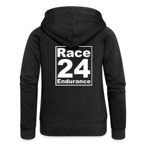 Race24 Logo - White - Women's Premium Hooded Jacket