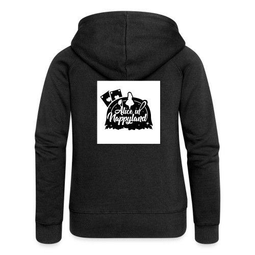 Alice in Nappyland TypographyWhite with background - Women's Premium Hooded Jacket