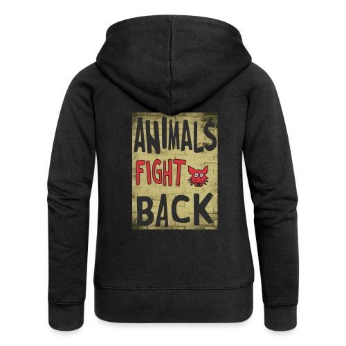Animals fight back - Felpa con zip premium da donna