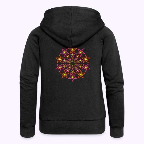 fractal estrella 3 color neón - Chaqueta con capucha premium mujer