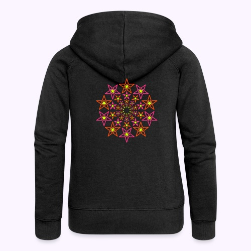fractal star 3 color neon - Women's Premium Hooded Jacket