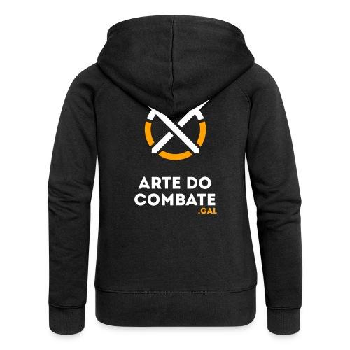 Logo «Arte do Combte» vertical sobre fundo preto - Chaqueta con capucha premium mujer