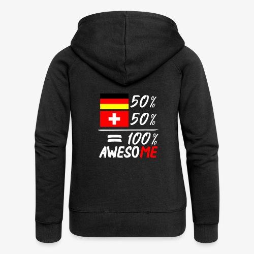 50% Deutsch 50% Schweiz - Frauen Premium Kapuzenjacke