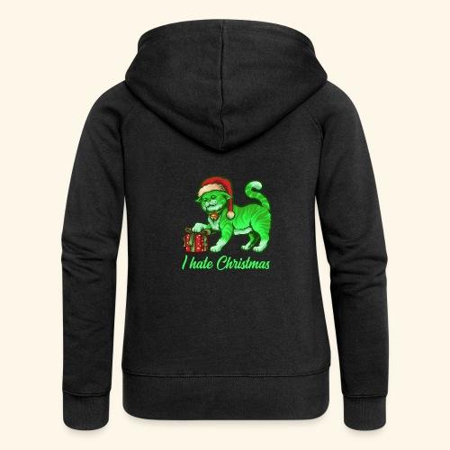 I hate Christmas giftig grüne Weihnachtsmann Katze - Frauen Premium Kapuzenjacke