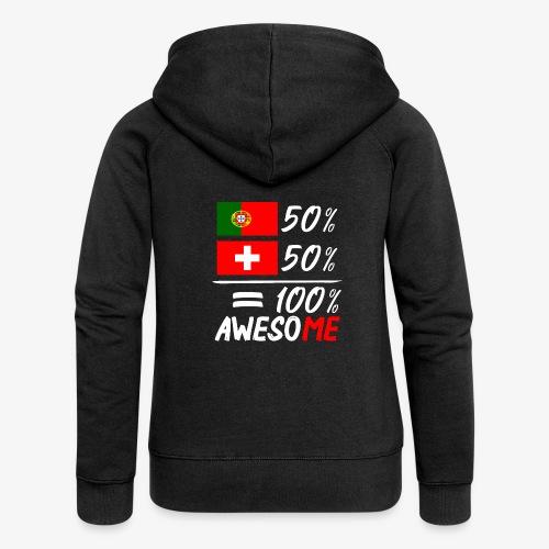 50% Portugal 50% Schweiz - Frauen Premium Kapuzenjacke