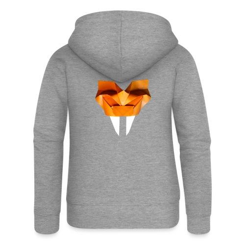 Origami Saber Toothed Tiger Mask - Origami Tiger - Women's Premium Hooded Jacket