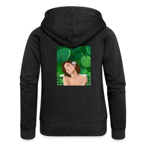 girl in garden - Rozpinana bluza damska z kapturem Premium