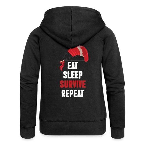 Eat - sleep - SURVIVE - repeat! - Rozpinana bluza damska z kapturem Premium