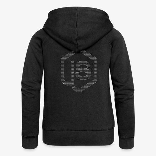 JavaScript Node.js ASCII logo (white) - Women's Premium Hooded Jacket
