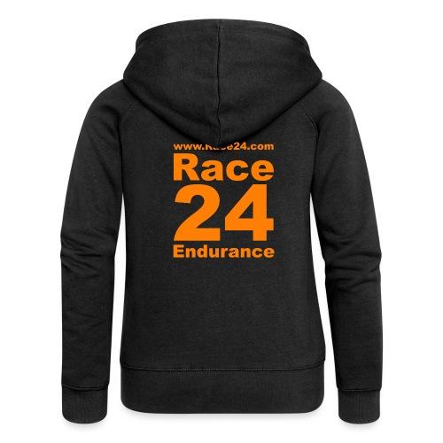 Race24 Logo in Orange - Women's Premium Hooded Jacket
