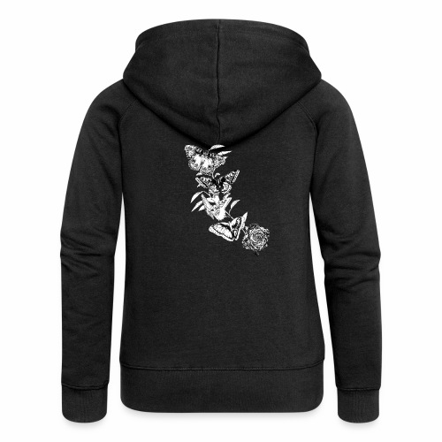 Black and White Butterflies and Rose - Felpa con zip premium da donna