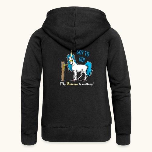 Dessin drôle de licorne disant bande dessinée cadeau - Veste à capuche Premium Femme