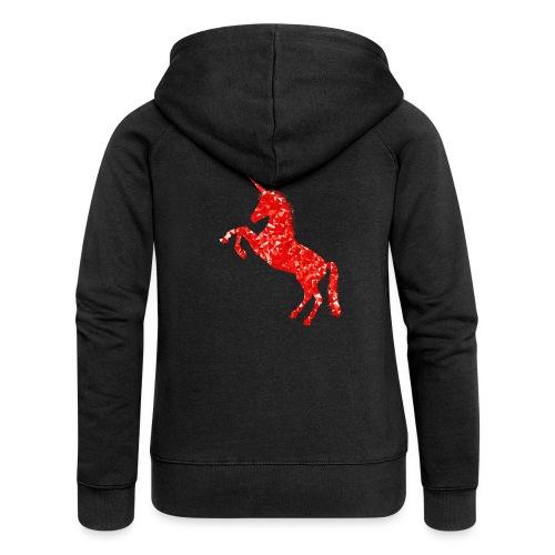 unicorn red - Rozpinana bluza damska z kapturem Premium
