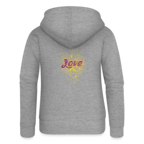 LOVE VIOLA CON DECORI - Felpa con zip premium da donna