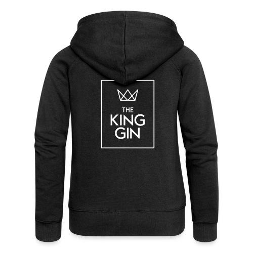 The King Gin Logo weiss RGB Rahmen - Frauen Premium Kapuzenjacke