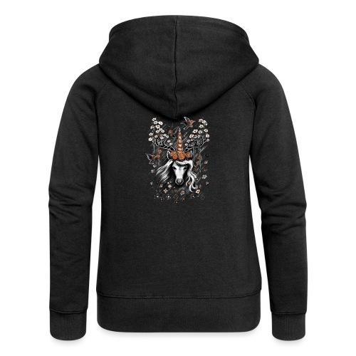 Deer Unicorn Flowers - Women's Premium Hooded Jacket