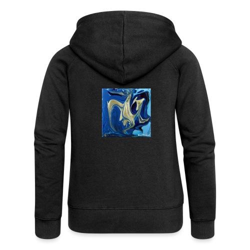 TIAN GREEN Welt Mosaik - AT042 Blue Passion - Frauen Premium Kapuzenjacke