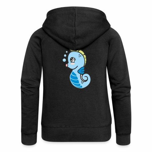 Seepferdchen blau - Frauen Premium Kapuzenjacke