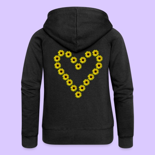 Sonnenblumenherz, Sonnenblumen, Sonnenblume, Herz - Frauen Premium Kapuzenjacke